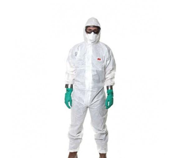 3M 4545 白色带帽连体防护服