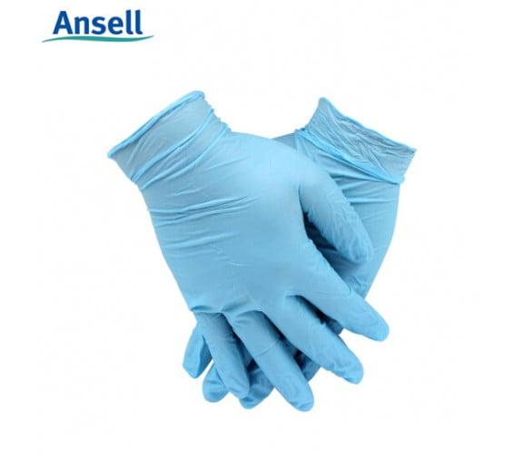 安思尔ansell 92-210 蓝色一次性无粉丁腈橡胶手套